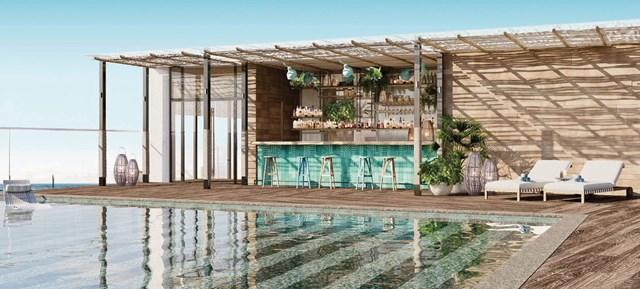 Hình ảnh bể bơi và quầy bar tòa Ruby với màu xanh lá chủ đạo tạo sự trẻ trung và tràn đầynăng lượng (tòa Ruby).