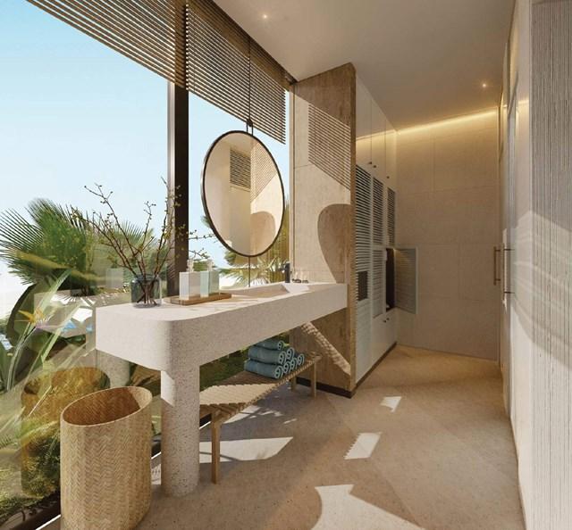 Khu tắm tráng được thiết kế tinh tế và hòa quyện với thiên nhiên (tòa Ruby).