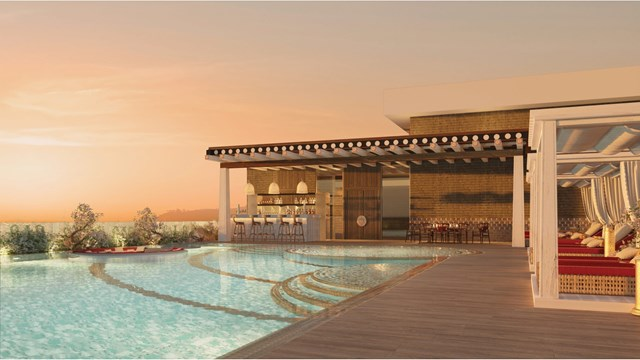 Không gian bể bơi tòa Sapphire với màu đỏ đặc trưng của mảnh đất Tây Tạng huyền bí (tòa Sapphire).