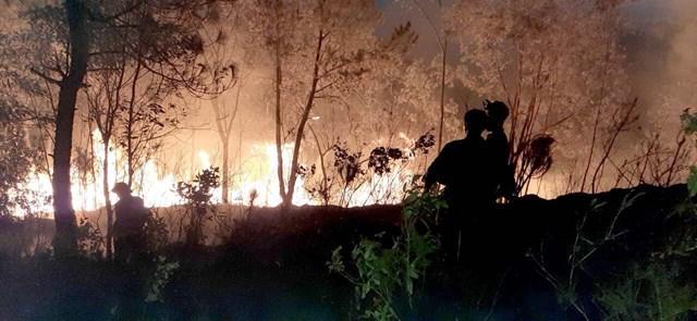 Cháy xuyênđêm, vụ hỏa hoạn thiêu rụi hơn 30 ha, trongđó diện tích rừng thiệt hại khoảng 5-7 ha.