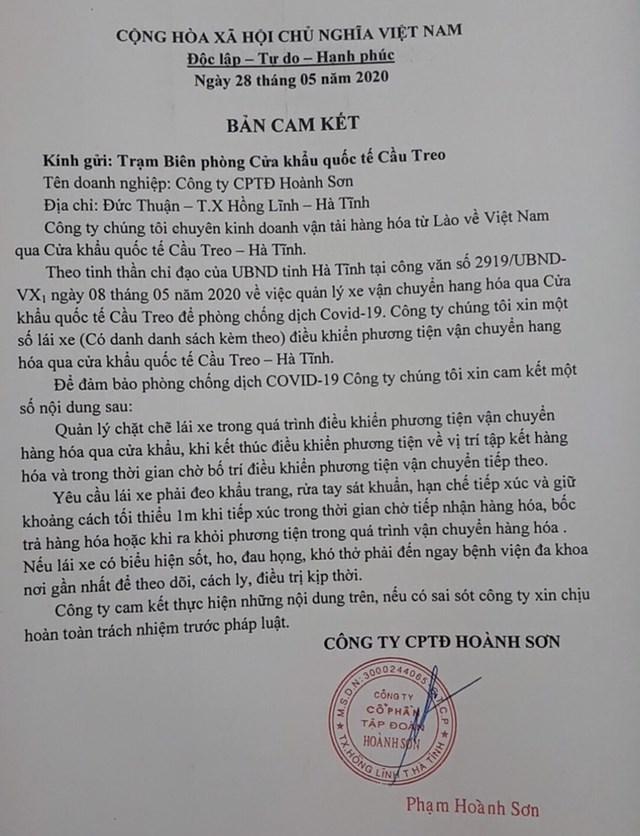Bản cam kết của Công ty CP Tậpđoàn Hoành Sơn.