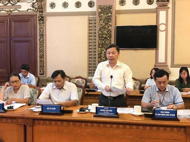 Phó Chủ tịch UBND TP HCM Dương Anh Đức phát biểu tại buổi làm việc.