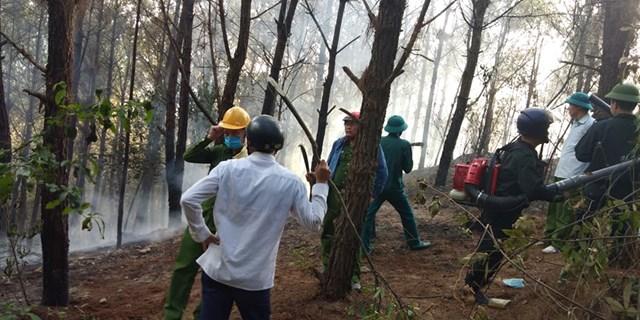 Hơn 400 người được huy động đến hiện trường dập lửa.