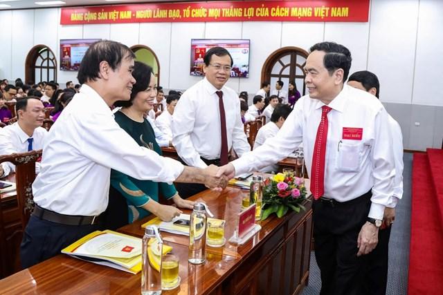 Chủ tịch Trần Thanh Mẫn cùng các đại biểu tham dự Đại hội. Ảnh: Quang Vinh.