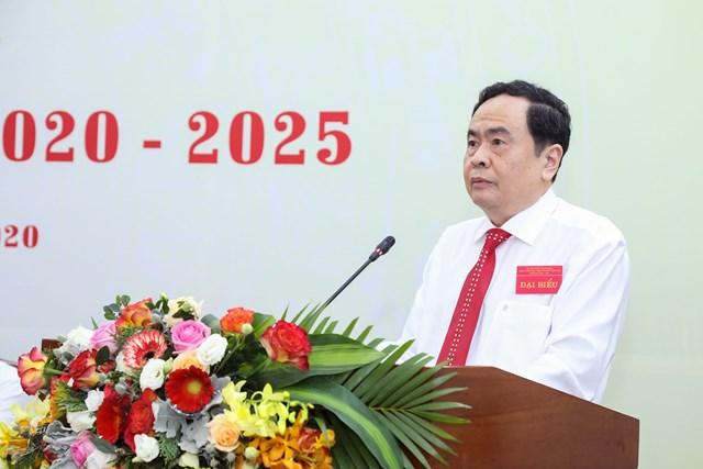 Chủ tịch Trần Thanh Mẫn phát biểu tại Đại hội. Ảnh: Quang Vinh.