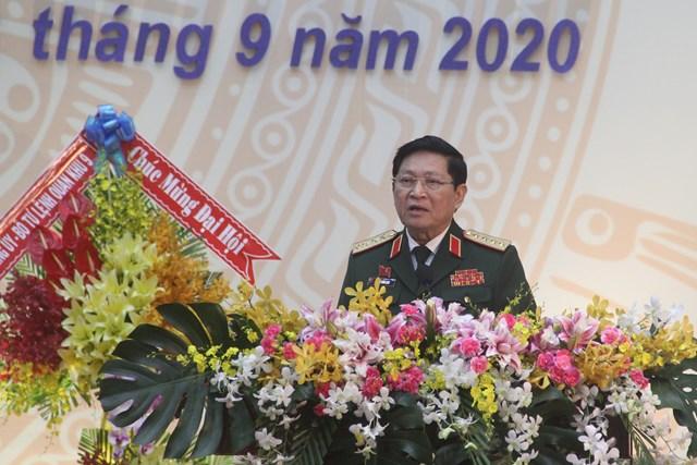 Đại tướng Ngô Xuân Lịch ,Ủy viên Bộ Chính trị, Phó Bí thư Quân ủy Trung ương, Bộ Trưởng Bộ Quốc phòng phát biểu chỉ đạo tại Đại hội.