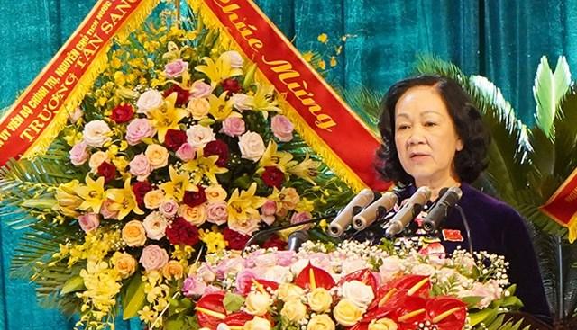 Trưởng ban Dân vận Trung ương phát biểu tại đại hội