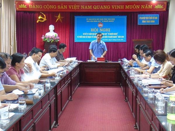 Ông Nguyễn Văn Giang, Chủ tịch Ủy ban MTTQ Việt Nam tỉnh Thái Bình chủ trì cuộc họp.