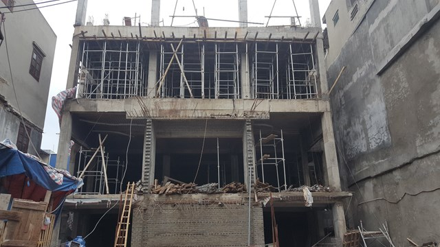 Công trình trụ sở Ngân hàng NN&PTNT chi nhánh TP Nam Định đang được thi công