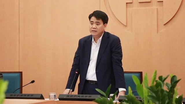 Ông Nguyễn Đức Chung phát biểu tại một cuộc họp.