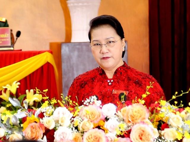 Chủ tịch Quốc hội Nguyễn Thị Kim Ngân phát biểu chỉ đạo Đại hội.