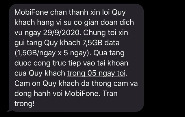 TIn nhắn xin lỗi khách hàng đến từ phía Mobifone. (Nguồn: Sưu tầm)