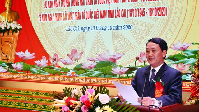 Phó Chủ tịch-Tổng Thư ký UBTƯ MTTQ Việt Nam Hầu A Lềnh phát biểu tại Lễ kỷ niệm.