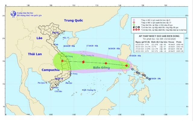 Hình ảnh đường đi áp thấp nhiệt đới.