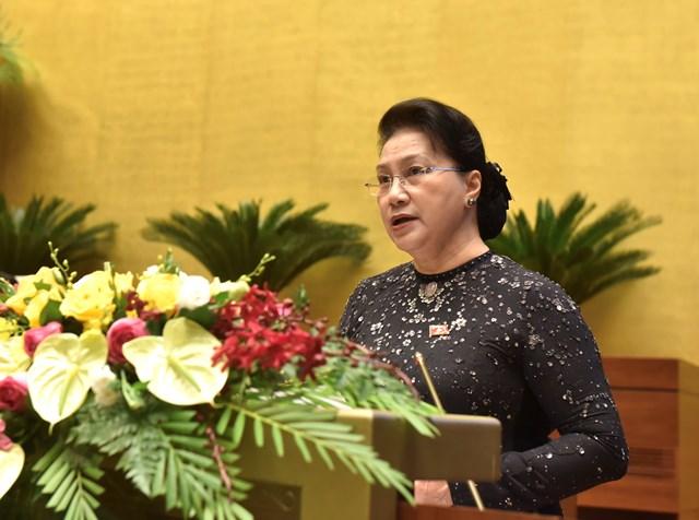 Chủ tịch Quốc hội Nguyễn Thị Kim Ngân phát biểu khai mạc kỳ họp thứ 10, Quốc hội khóa XIV. Ảnh: Quang Vinh.