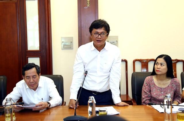 Tổng GiámđốcĐài Truyền hình Việt Nam Trần Bình Minh phát biểu tại cuộc họp.