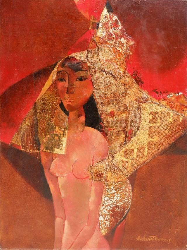 Tác phẩm Thiếu nữ của họa sĩ Hồ Hữu Thủ.
