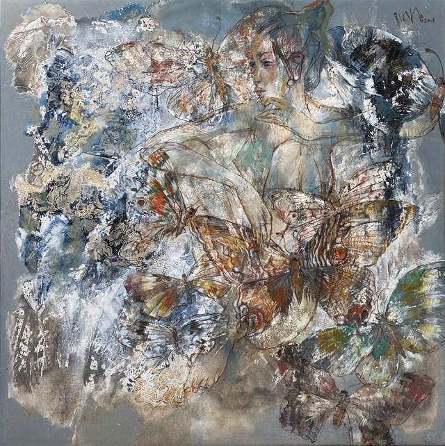 Tác phẩm Bướm và hoa của họa sĩ Hứa Thanh Bình.