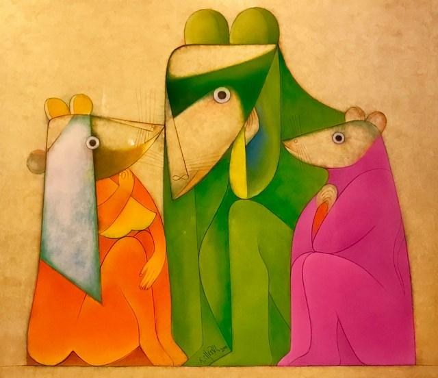 Tác phẩm Gia đình chuột của họa sĩ Thành Chương.