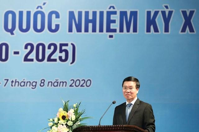 Trưởng ban Tuyên giáo Trung ương Võ Văn Thưởng phát biểu chỉ đạo Đại hội.