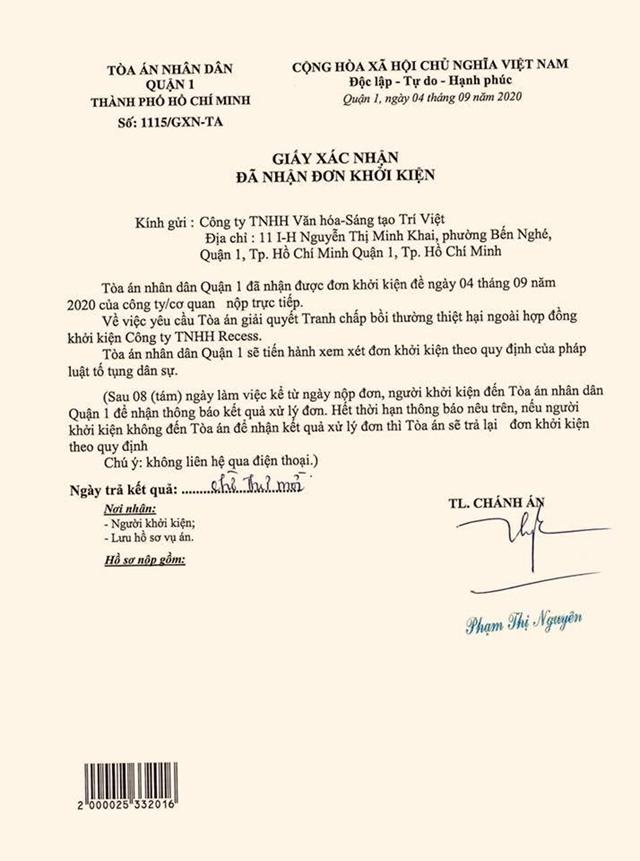 Xác nhận đã nhận đơn khởi kiện của TAND Quận 1 TP HCM.
