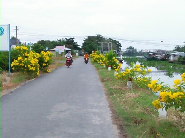 Mô hình tuyến đường Sáng – xanh – sạch – đẹp đang được triển khai ở xã Vĩnh Thắng.