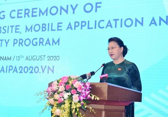 Chủ tịch Quốc hội Nguyễn Thị Kim Ngân phát biểu tại buổi lễẢnh: Chiến Thắng.