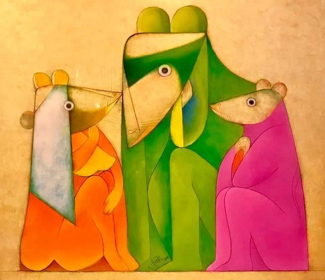 """""""Chuyện nhà chuột"""" (sơn mài, 120x100 cm) của họa sĩ Thành Chương treo tại triển lãm."""