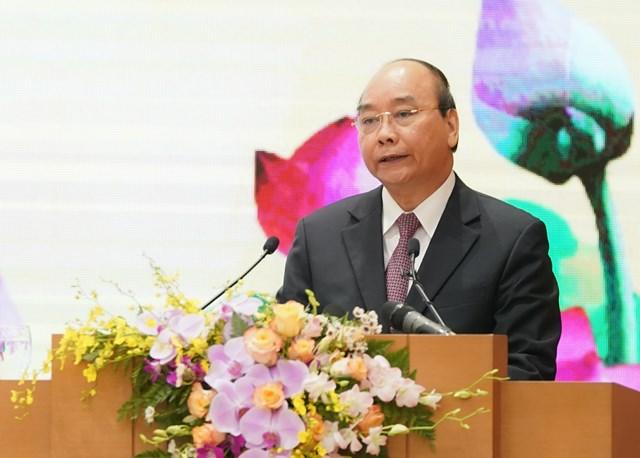 Thủ tướng Nguyễn Xuân Phúc phát biểu tại buổi kỷ niệm. Ảnh: VGP/Quang Hiếu.