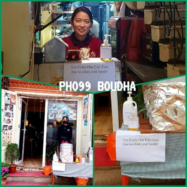 Nước sát khuẩn do chị Võ Thị Kim Cương tự pha chế đặt tại cửa hàng phở 99 và tặng cho những bà con người Việt có nhu cầu.