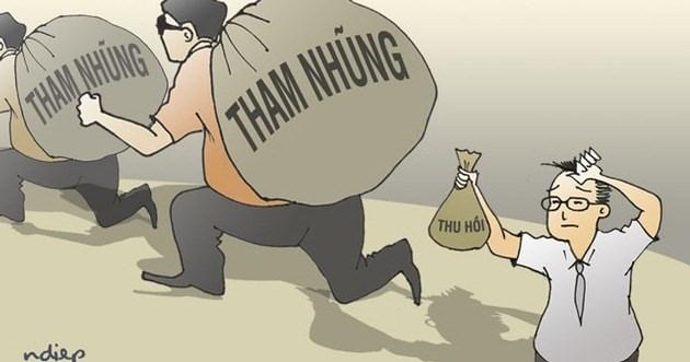 Một biếm họa cho thấy việc thu hồi tài sản tham nhũng đang gặp khó khăn.