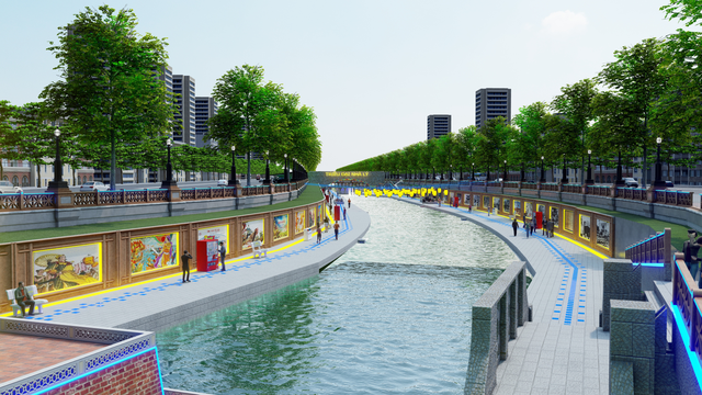 Cảnh quan để người dân dạo mát bên bờ sông Tô Lịch theo hướng đề xuất mới.