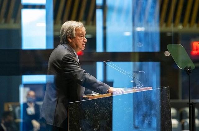 Tổng Thư ký LHQ Antonio Guterres kêu gọi thế giới thực hiện quản trị toàn cầu thời hậu đại dịch Covid-19. Nguồn: UN.