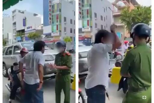 Hình ảnh ghi lại một vụ đối tượng lăng mạ công an phường Cầu Kho (Q.1,TPHCM) khi bị xử lý vi phạmẢnh: Đức Cương.