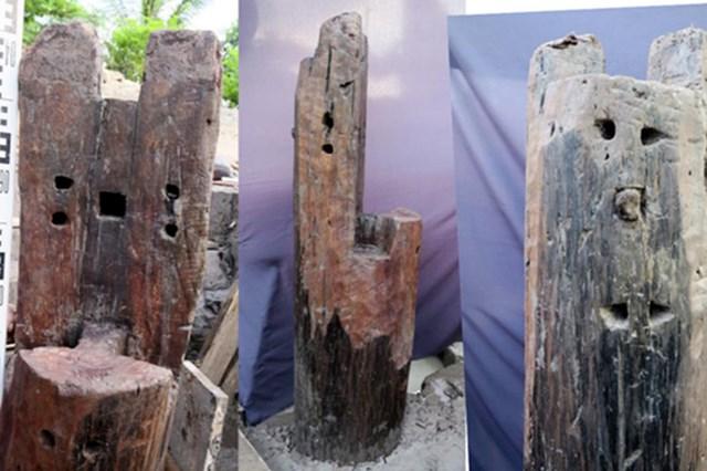 Trong số 37 cọc được phát lộ có một cọc có nhiều mộng khoét tròn. Ảnh: Viện Khảo cổ Việt Nam.