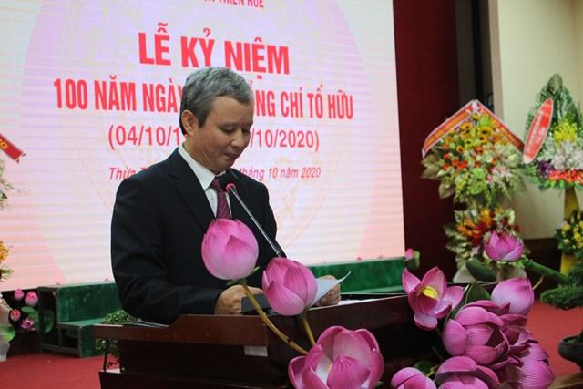 Bí thư Tỉnh ủy Lê Trường Lưu đọc diễn văn ôn lại tiểu sử và sự nghiệp cách mạng của đồng chí Tố Hữu.