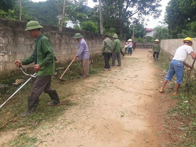 Người dân thôn Đồng Bèn II ra quân bảo vệ môi trường. Ảnh: Thu Trinh.