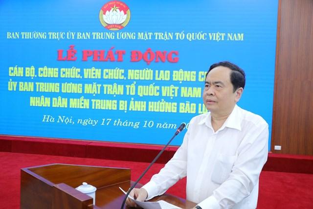 Bí thư Trung ương Đảng, Chủ tịch UBTƯ MTTQ Việt Nam Trần Thanh Mẫn phát biểu tại Lễ phát động.
