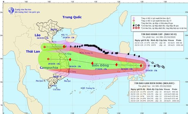 Vị trí và đường đi của bão số 8 hồi 13h ngày 25/10. Nguồn:Trung tâm Dự báo Khí tượng thủy văn Quốc gia.