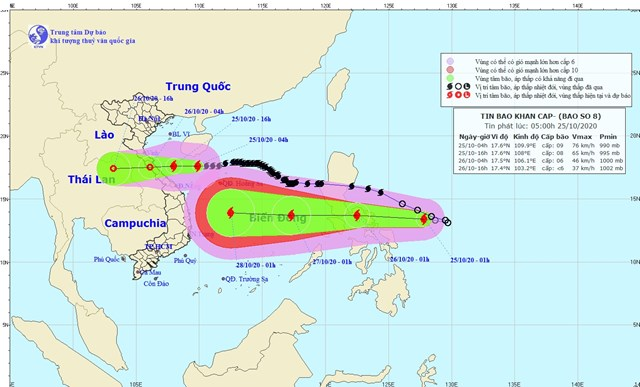 Vị trí và đường đi của bão số 8. Nguồn:Trung tâm Dự báo Khí tượng thủy văn Quốc gia.