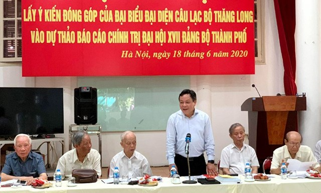 Câu lạc bộ Thăng Long tổ chức Hội nghị lấy ý kiến đóng góp vào Dự thảo văn kiện Đại hội XVII Đảng bộ Thành phố Hà Nội (Ảnh: Cổng TTĐT TP Hà Nội).
