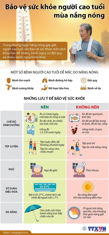 [Infographic] Người cao tuổi nên làm gì để bảo vệ sức khỏe mùa nóng? - Ảnh 1