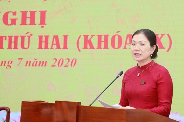 Phó Chủ tịch Trương Thị Ngọc Ánh phát biểu tại Hội nghị. Ảnh: Quang Vinh.