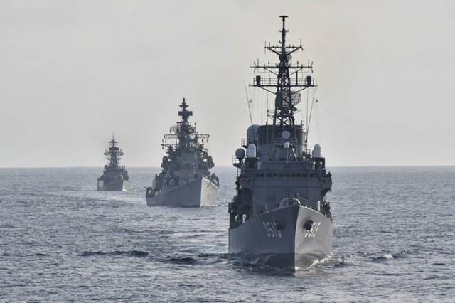 Các tàu chiến Ấn Độ và Nhật Bản tham gia tập trận ở Ấn Độ Dương.