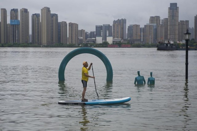 Tình trạng ngập lụt nghiêm trọng tại thành phố Vũ Hán, tỉnh Hồ Bắc. (Nguồn: The Star).