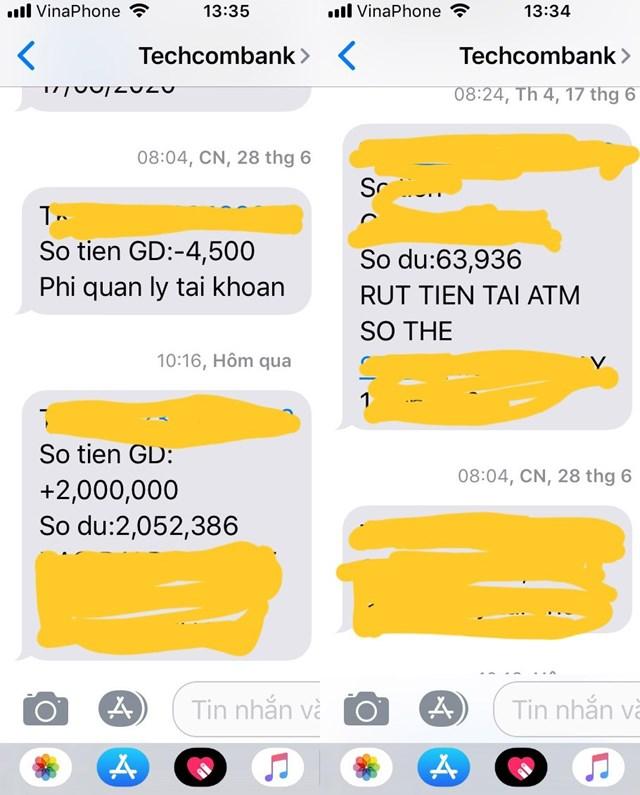 Tài khoản của anh Tiên bị Techcombank âm thầm trừ tiền.