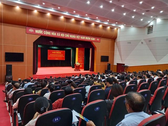 Toàn cảnh hội nghị tập huấn công tác bảo vệ bí mật Nhà nước do UBND huyện Gia Lam tổ chức.