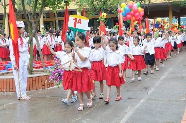 Học sinh khối lớp 1 trường tiểu học Kim Đồng, quận Ba Đình. Ảnh Thanh Hải.