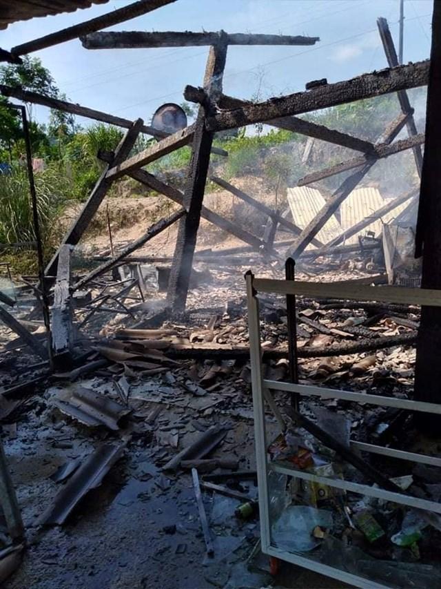 Hiện trường nơi xảy ra vụ cháy nhà chị Hiền.