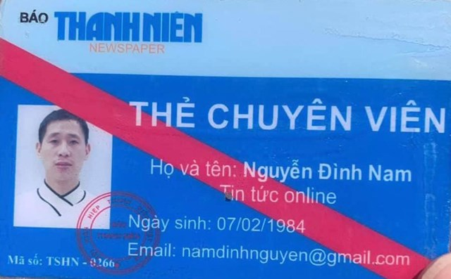 Chiếc thẻ giả mạo mà Nguyễn Đình Nam sử dụng.